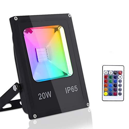 Hengda Faretto LED RGB 20W Proiettore Esterno Faretti da Giardino Impermeabile IP65 16 colori 4 modalità Dimmerabile per Festa Halloween Decorazione