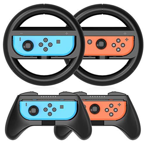 HEYSTOP Grip per Nintendo Switch Joy con [4 Pezzi], Hand Grip Kit Antiusura Custodia Protettiva per Controller Switch Joy con, Compatibile con Mario Kart 8 Deluxe (Nero)