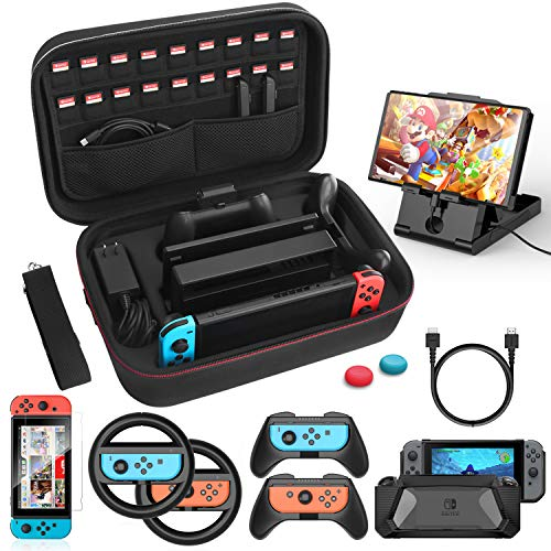HEYSTOP Kit Accessori 12 in 1 per Nintendo Switch, Include Custodia da Trasporto, Cover Protettiva in TPU, Joycon Grip e Volante, Pellicole Protettive, Supporto Regolabile, Thumb Grip, Cavo USB