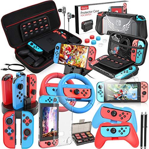 HEYSTOP Kit Accessori per Nintendo Switch includere Custodia da Trasporto, Cover Protettiva, Joycon Grip e Volante, Pellicole Protettive, Custodia per Joycon, Dock di Ricarica, Supporto Regolabile