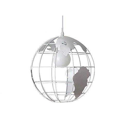 HJXDtech - Mappa lampadario E27 luce del pendente mondo moderno Lampada a soffitto colorato paralume in vetro (bianco)