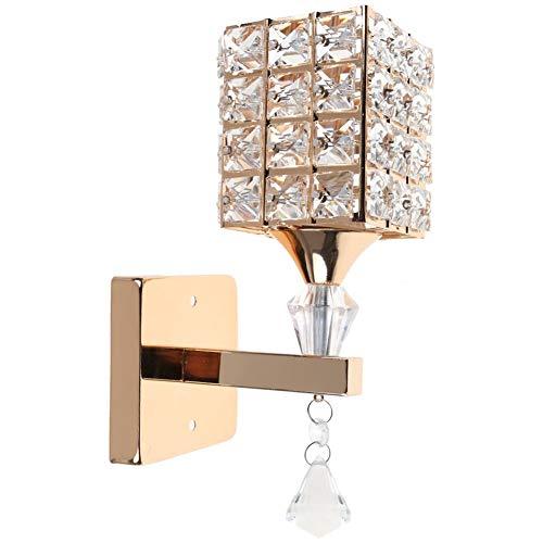 HJZ Moderna Lampada da parete in cristallo Lampada da parete Camera da letto Corridoio Luce da parete Supporto E14 Presa, lampadina non inclusa (Oro)