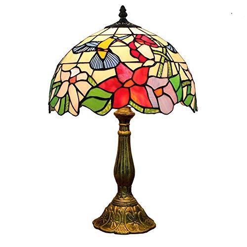 """Hobaca® 12"""" Tiffany lampade da Tavolo Salotto Vintage splendidi fiori di vetro macchiato Metallo Base Lampada da Comodino Eleganti Decorato Camera da Letto"""