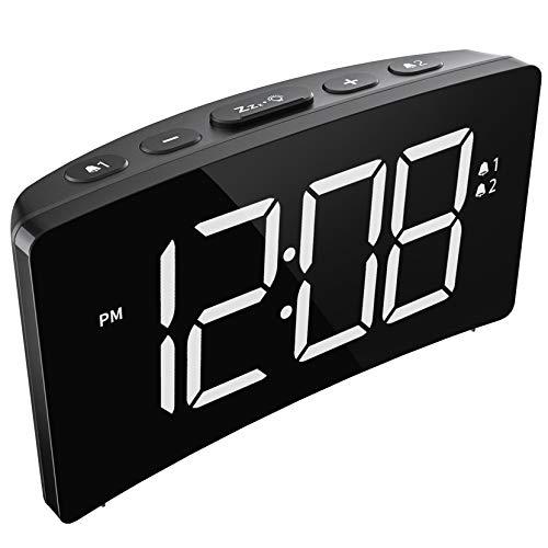 Holife Sveglia Digitale, Sveglia da Comodino, 5 Pollici Sveglia con Grande Schermo Curvo e Senza Bordi, Sistema a 12 Ore o 24 Ore, Funzione di Snooze (Adattatore Non Incluso) (Bianco)