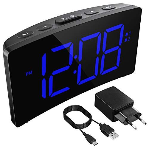 Holife Sveglia Digitale, Sveglia da Comodino LED con Adattatore, 3 Suoni Naturali/Grande Schermo/Funzione di Snooze/Luminosit¨¤ Regolabile/Timer/Sistema 12/24 Ore (Adattatore Incluso)