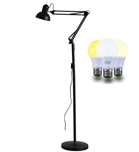 Home-Neat Lampada a piantana da terra con braccio orientabile luce da lettura in metallo per salotto E27, max. 60 Watt, Nero