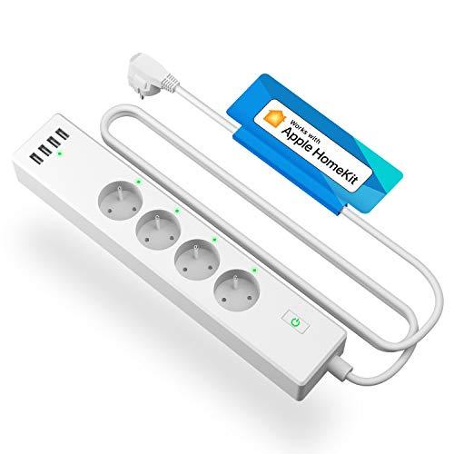 HomeKit Multipresa connesso (FR), Multipresa Intelligente Compatibile con Apple HomeKit, Siri, Alexa, Google Home e SmartThings (4 prese AC e 4 porte USB, controllo vocale e controllo a distanza