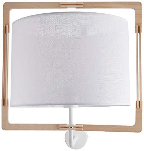 Homemania HOMAX_4430 Lampada da Parete Vega Applique, Legno in Metallo, Legno, Tessuto, 41.5 x 49 x 47 cm