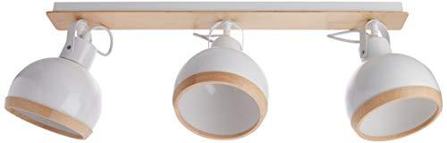 Homemania Lampada a Soffitto Oval Plafoniera, Bianco in Metallo, Legno, 65 x 18 x 22 cm