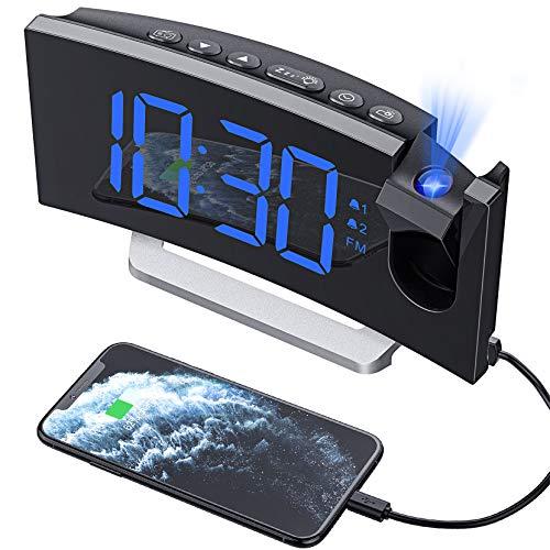 Hommak Radiosveglia con Proiettore, Sveglia Digitale con USB Porta, Doppio Allarme con 5 Suoni e 3 Volumi, Dimmer Luminosità 0-100%, 4 Luminosità Proiezione Regolabile 30 Radio FM(Adattatore Incluso)