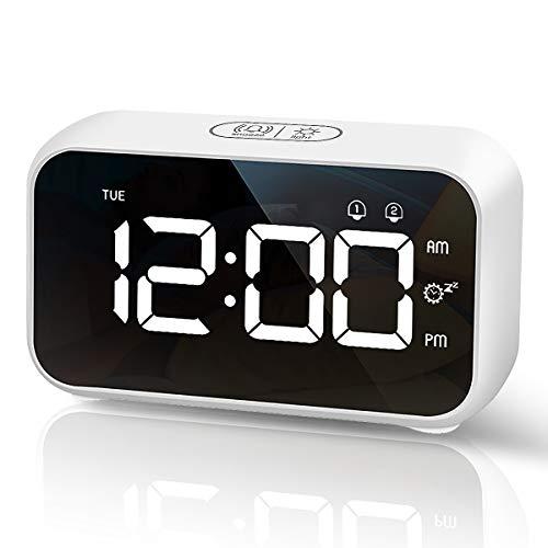 HOMVILLA Sveglia Digitale, Sveglia da Comodino LED con 40 suonerie opzionali, Orologio a Specchio con Doppio Allarme, Funzione di Snooze, 4 Livelli di luminosità, Sistema 12/24 Ore (Bianca)