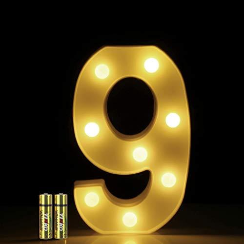 HONPHIER® Insegne luminose Luce LED Numeri Numero luminoso bianco a LED Decoro per Decorazione di Casa, Matrimoni, Feste, Reception, Bar 2 Batterie (9)
