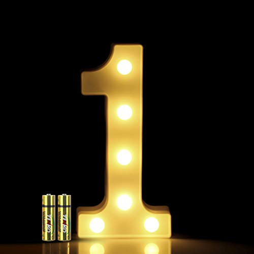 HONPHIER® Insegne luminose Luce LED Numeri Numero luminoso bianco a LED Decoro per Decorazione di Casa, Matrimoni, Feste, Reception, Bar 2 Batterie (1)