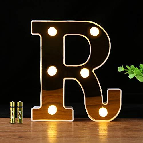HONPHIER® Insegne Luminose Luci LED Alfabeto Luminoso Marquee Lights per Decorazione di Casa, Matrimoni, Feste, Reception, Bar (R)
