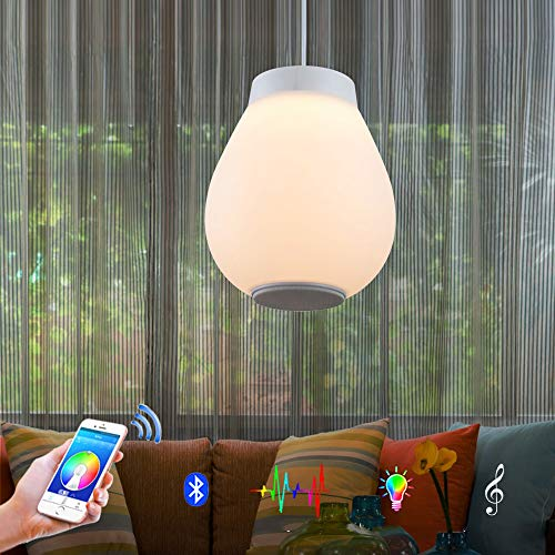 Horevo Lampada a Sospensione a Led Lampada da Soffitto 30W, Lampadario Moderno Bianco con Musica, Dimmerabile RGB Lampadario con App e Telecomando, Ideale per Sala da Pranzo, Cucina, Soggiorno