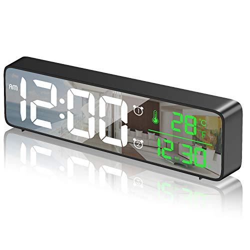 HOTERB Sveglia Digitale da Comodino,Sveglia da Comodino con 40 Suonerie Opzionali,Temperatura e Data,LED Grande Display Orologio Digitale da Tavolo per Camera da Letto,Studio,Ufficio