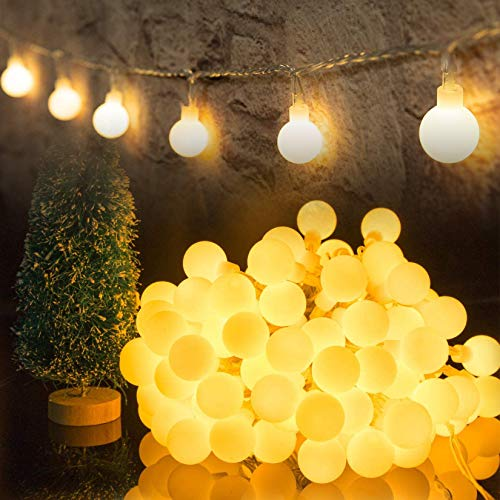 HOTLIKE Luci Catene Luminosa, Luci LED Batteria, 5m 50 LED 2 Modi Fairy Light Ghirlanda Luminosa Decorative Interni e Esterni Waterproof Stringa per Giardino Feste Natale Matrimonio (Bianco Caldo)