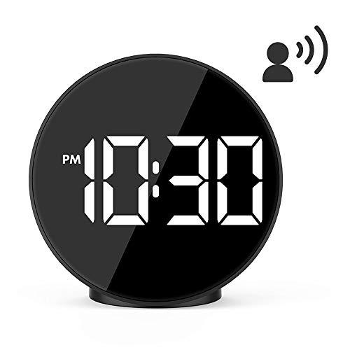 Houkiper Sveglie LED Large Digital Display Mirror Surface Clock Controllo vocale Desktop Clock per Camera da Letto