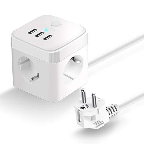 HOVNEE Multipresa Cubo, con 3 prese USB (15,5 W / 3 A), con interruttore a cavo da 1,5 m (2500 W / 10 A), protezione da sovratensione, protezione da sovratensione, adatto per ufficio, casa o viaggi