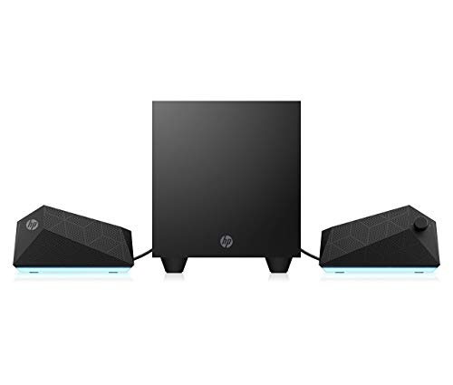 HP - Gaming Speakers X1000, Altoparlanti e Subwoofer, Potenza 30 W RMS, Regolazione Illuminazione (con OMAN Command Center) e Equalizzazione, Compatibile Tablet o Smartphone, AUX 3.5 mm, USB, Nero