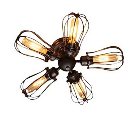 Huahan Haituo industriale Edison retrò Vintage Lampada plafoniera con 1/2/3/4/5 luci retrò rustico Applique Applique (nero, luce 5)