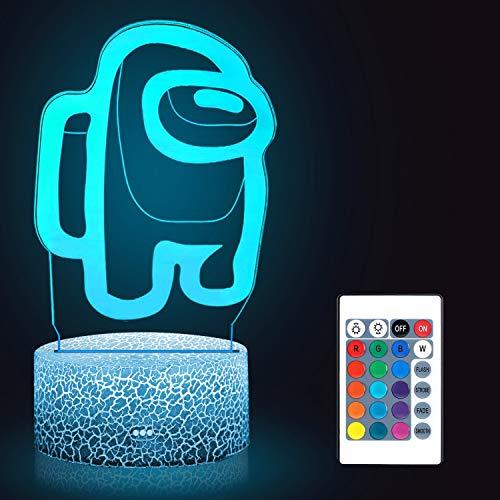 Huanchenda Among Us 3D Illusion Lampada Da Tavolo, 16 Colori Illusione Luce Notturna Tra Noi Lampada Da Tavolo, Luci Notte per Bambini Camera Da Letto Decorazione