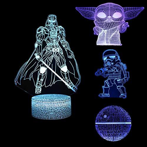 Huanchenda Star Wars 3D Illusion Luce Notturna, 4 Modelli 7 Colori Illusione Luce Notturna Tra Noi Lampada Da Tavolo, Luci Notte per Bambini Camera Da Letto Decorazione