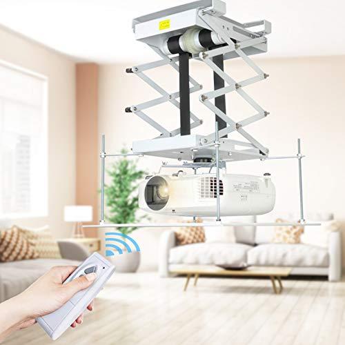HUKOER Staffa per proiettore e staffa per montaggio a soffitto con sollevamento motorizzato elettrico, telecomando per cinema Scuola di sala con doppio motore e carico massimo di 20 kg