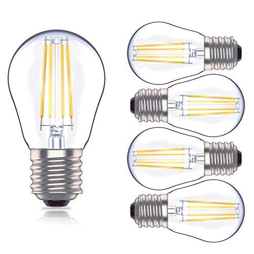 Huoqilin Lampadina LED E27 a Sfera, Dimmerabile G45 Lampadine, 4W Equivalenti a 40W, Luce Bianca Calda 2700K,5 Pezzi