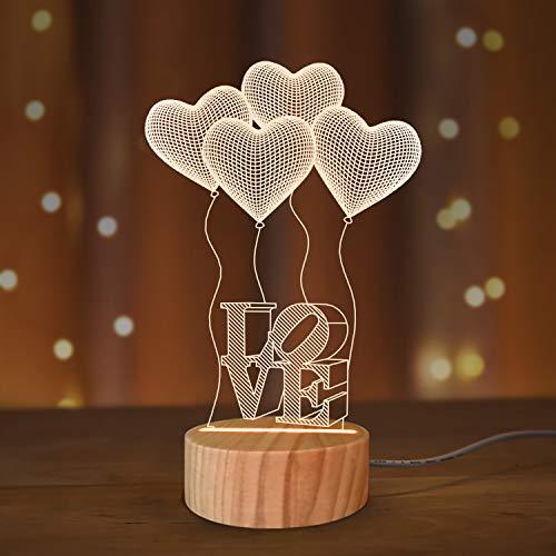 I Love You Gifts 3D Illusion Luce Notturna, Romantica Camera da Letto Luce di Notte Colori Caldi in Legno Fatto a Mano Cool Holiday Regalo di Compleanno per Ragazza Amica Genitori