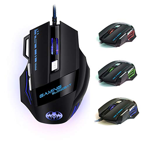 iAmotus Mouse da Gioco, Ergonomico Mice da 7200 DPI Regolabile ottico Mouse 7 Pulsanti RGB Gaming Mice Gioco Lavoro Mouse Universale USB per Windows,PC,Computer, Mac OS,Laptop,Notebook(Nero)