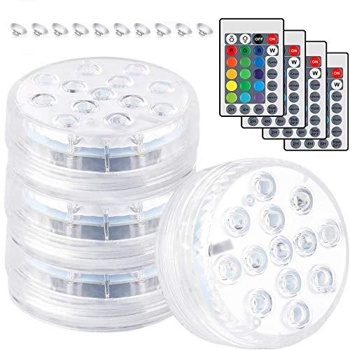 Ibello Sommergibile LED Luce Piscina Luce 16 Colori con Telecomando per Piscina Acquario Vaso Idromassaggio o Festa (4 Pezzi)