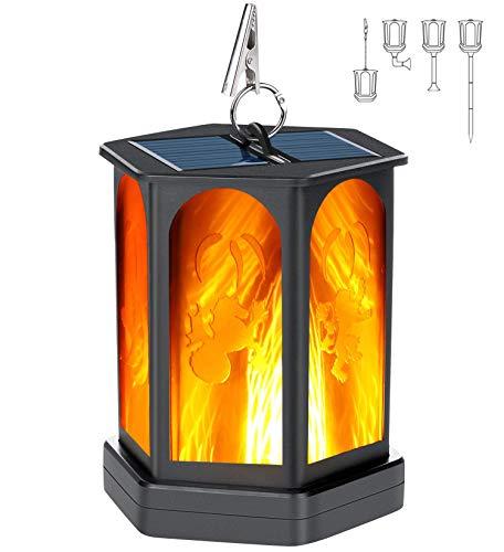 Idealife Lanterna solare Luci Fiamma Impermeabile Lanterna pensile per esterni Sfarfallio Fiamma Torcia Luce Crepuscolo all'alba Luci paesaggistiche per giardino Patio Terrazzo Cortile Percorso