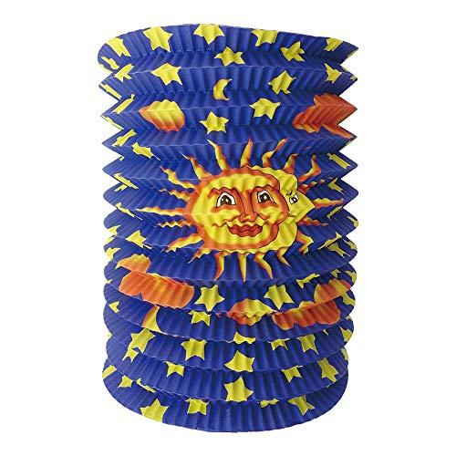 Idena 30228 - Lanterna solare con sole, diametro 16 cm, altezza 24 cm, luna, stelle, trasloco, lanterna St. Martin, decorazione