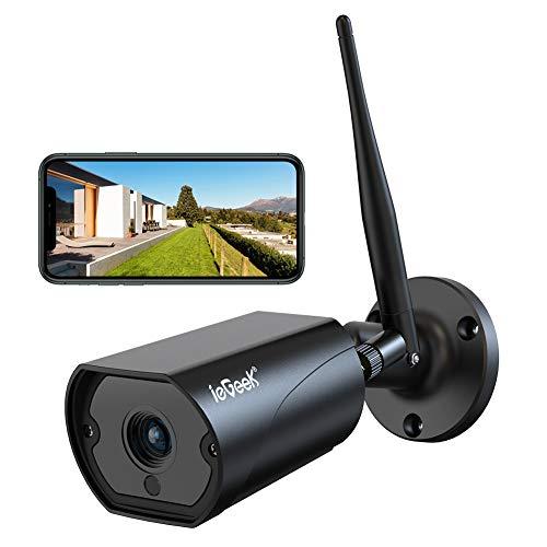 ieGeek 1080P HD Telecamera Wifi Esterno Videocamera Sorveglianza Nero con Antenna 5dBi Wi-Fi, Rilevazione Movimento Audio Bidirezionale, funzione impermeabile IP66