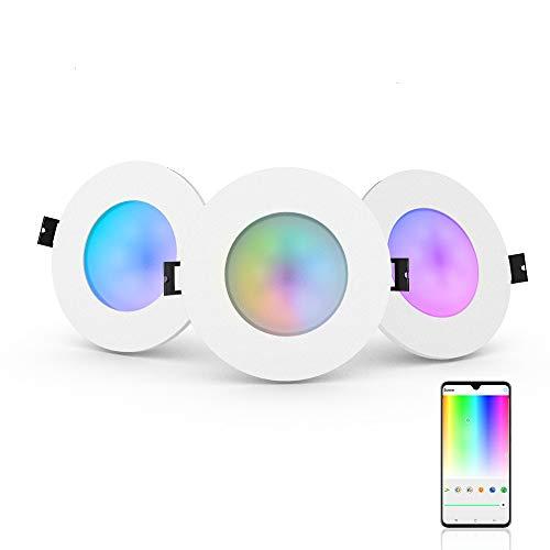 iHomma - Faretto LED da incasso, 3.5 pollici, impermeabile IP65, funziona con Alexa e Google Asisstantz(non supporta sopra IOS13.0), RGBWW dimmerabile, 6W, 110-240V, 350LM 3pcs
