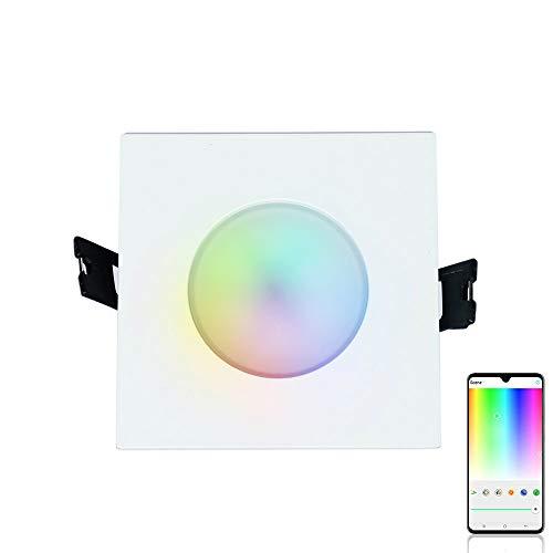 iHomma - Faretto quadrato da incasso, impermeabile IP65, compatibile con Amazon Alexa e Google Assistant, controllo vocale, controllo app, dimmerabile, luce da soffitto da 6W, 350lm, 110-240V, metallo