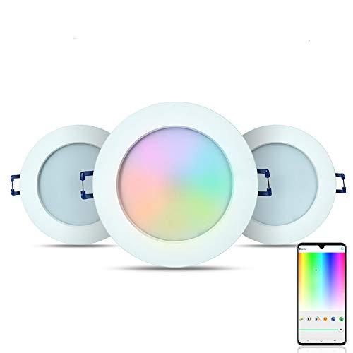 iHomma IP44 - Faretto da incasso a LED, impermeabile, 10,8 cm, compatibile con Alexa e Google Assistant, dimmerabile, colore mutil, bianco freddo, bianco caldo, 12 W, 900 lm, 110-240 V (3 pezzi)