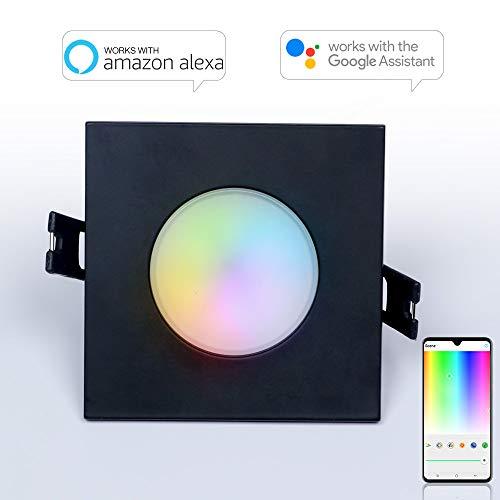 iHomma Smart LED da incasso a soffitto, 8,9 cm, impermeabile IP65, funziona con Amazon Alexa e Google Asisstant, RGB + luce calda + fredda dimmerabile, 6W, 350LM, 110-240V, 2700K-6500K