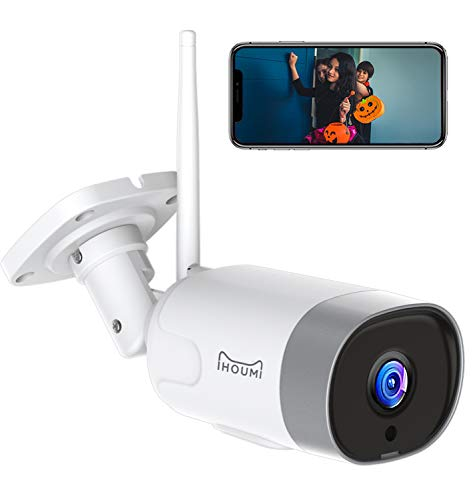 IHOUMI FHD 1080P Telecamera IP esterna, impermeabile IP66, telecamera IP con audio bidirezionale, visione notturna, rilevamento del movimento, compatibile con iOS/Android, lavora con Alexa