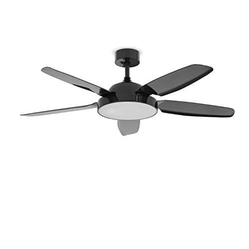 IKOHS FLOWIND - Ventilatore da soffitto con luce incorporata, design esclusivo, silenzioso, potente, 4 pale in legno, telecomando, diametro 132 cm, 3 velocità, timer, motore AC, 88W (Nero)