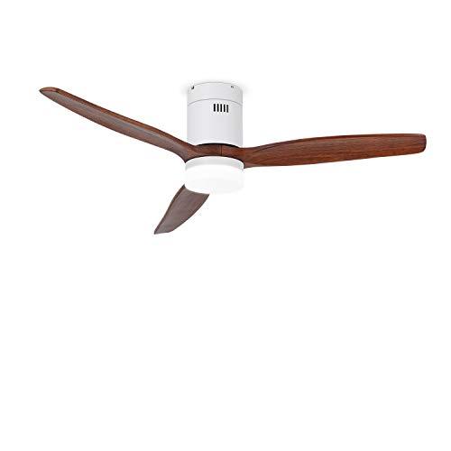 IKOHS LIGHTCALM WHITE - Ventilatore da soffitto con luce incorporata, silenzioso, 3 pale in legno, telecomando, 6 velocità, timer, motore a corrente continua, 40W, motore DC (Legno scuro)
