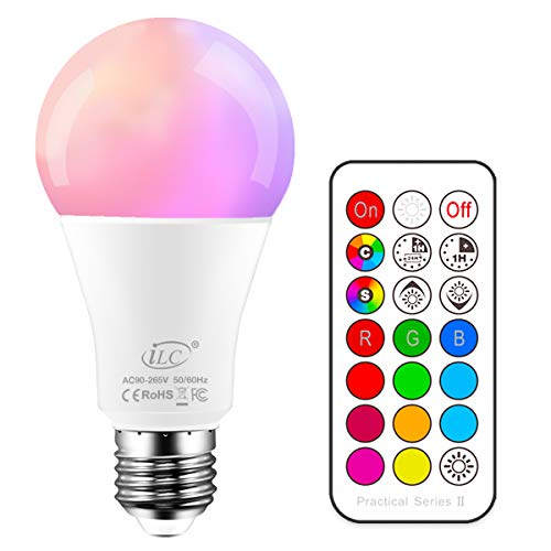 iLC 10W Lampadine Colorate Led Cambiare colore Lampadina Edison RGB E27 RGBW LED Lampadine Led a Colori Dimmerabile - 12 scelte di colore - Telecomando Incluso