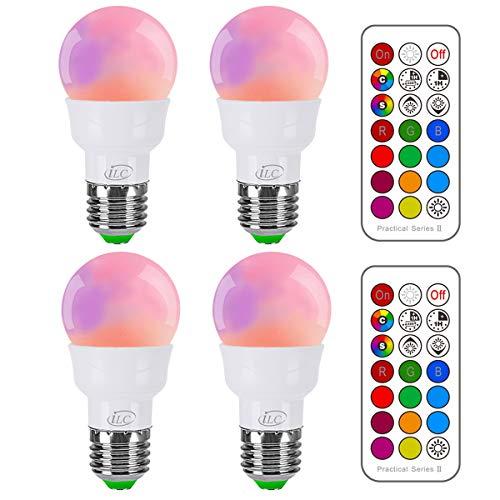 iLC Led Cambiare colore Lampadina Edison 5W E27 RGBW LED Lampadine Led a Colori - RGB 12 scelte di colore - Telecomando Incluso (Confezione da 4)