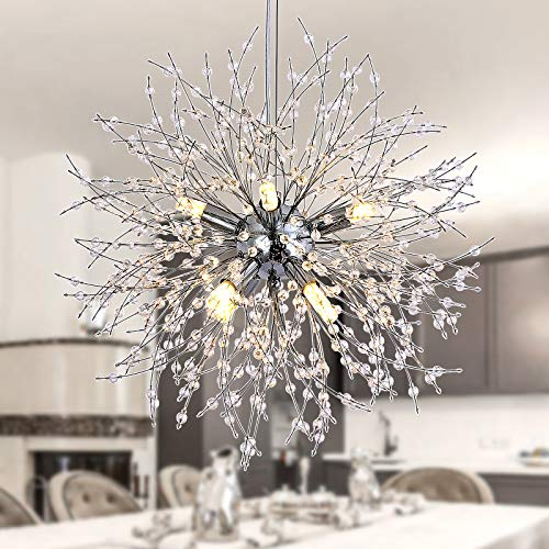 Illuminazione moderna con lampadario a sospensione con fuochi d'artificio, 8 luci Lampade Decorazione domestica per interni Attacco per soggiorno Camera da letto Corridoio Cucina Sala da pranzo(Cromo)