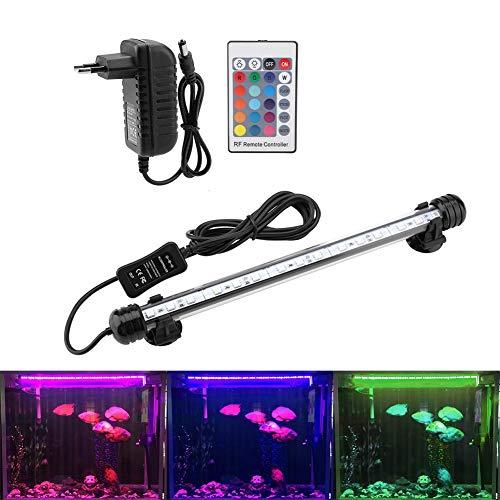 Illuminazione per Acquario LED Aquarium Light Colorato Sommergibile Luci Resistente Calore Telecomando Impermeabile Subacqueo Cristallo Barra Luce per Acqua Salata e Acqua Dolce (MF-15U EU Plug)
