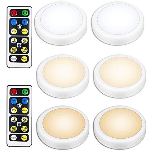 Illuminazione senza fili sotto l'armadio, 6 pezzi di luce bianca calda a LED con telecomando, lampada notturna ambientale, batteria AA, faretti adesivi