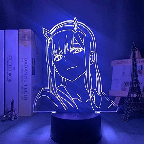 Illusione 3D luce notturna Darling in The FRANXX 002 Anime personaggio lampada da tavolo alimentato tramite USB 7 colori LED luci con interruttore touch per bambini regali camera da letto decorazione