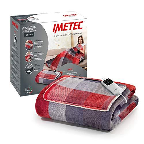 Imetec Adapto Velvet Tartan plaid riscaldabile 150x110 cm tessuto vellutato e setoso, Tecnologia Adapto, Dispositivo di sicurezza, rapido riscaldamento, 6 temperature, lavabile in lavatrice