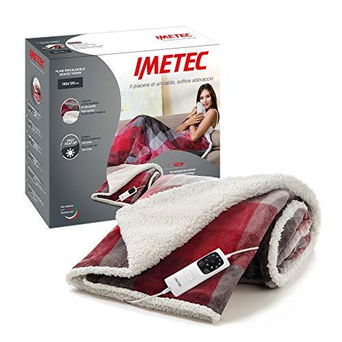 Imetec Adapto Velvet Tartan plaid riscaldabile 160x120 cm tessuto vellutato e setoso, Tecnologia Adapto, Dispositivo di sicurezza, rapido riscaldamento, 6 temperature, lavabile in lavatrice